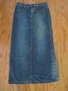 Long Denim Skirt Sz 3 Juniors Womens Youth Blue Jean Side Split Dark Wash