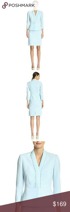 NWT Tahari ASL Beaded Skirt Suit 2-Piece Lovely! A bead-trim placket at the frontlends elegance to this already chic skirt suit byTahariASL!   Color: Crystal Blue  Jacket: Beaded trim, four hidden snap closures, three-quarter sleeves  Skirt: back zipper with hook-and-eye closure, pencil silhouette, slit at center back  Both pieces are lined  Jacket hits at hip: approx. 25 inches long  Skirt hits at knee; approx. 22 inches long  Polyester; lining: polyester  Dry clean  Retails for $280…