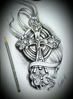 Head Tattoos, Body Art Tattoos, Small Tattoos, Tattoos For Guys, Sleeve Tattoos, Cool Tattoos, Cool Cross Tattoos, Clock Tattoo Design, Cross Tattoo Designs