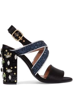 Heel measures approximately 100mm/ 4 inches Black satin, silver leather Buckle-fastening slingback strap Made in Italy
