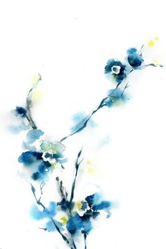 Blue Blossoms Art Print from Original by CanotStopPrints on Etsy, $40.00