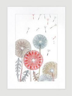 Original watercolor dandelions, painting, wall floral decor, flower illustration, botanical, original art, nature, pastel, A4 by VApinx on Etsy, $64.00