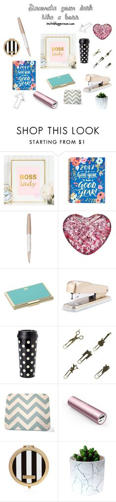 Decorate your desk like a boss by beautybesties1 on Polyvore featuring Kate Spade, Henri Bendel, Waterford, Swarovski, Cynthia Rowley, Panasonic, theoffice and bossLady