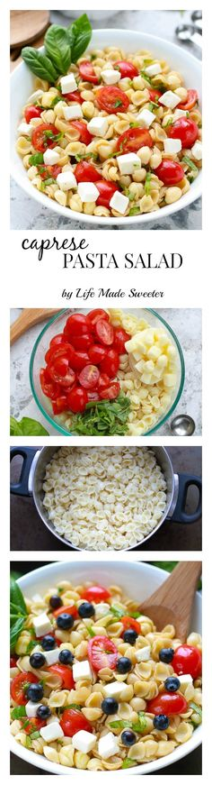 Caprese Pasta Salad The easiest & most delicious caprese pasta salad. Perfect for summer potlucks & BBQ's.