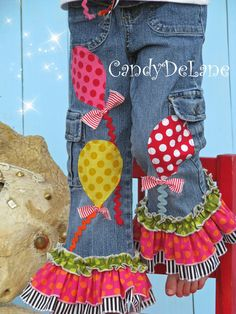 CIRCUS GIRL  Appliqued Triple Ruffle Capris/ Jeans by CandyDeLane, $50.00