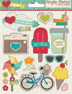 Simple Stories - I Heart Summer Collection - Layered Stickers at Scrapbook.com $3.99
