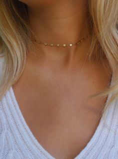 Dainty Chain Choker Necklace / Simple Gold Choker Necklace /