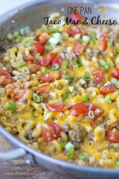 One Pan Taco Macaroni. Replace beef with tofu crumble and vegetable broth for vegetarian. Add taco sauce