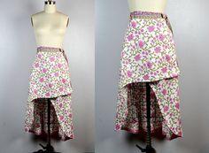 Wrap Skirt Asymmetrical Skirt Floral Skirt Indian by ItaLaVintage