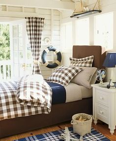 love this brown check - great boys room, the nautical accents work well in this room