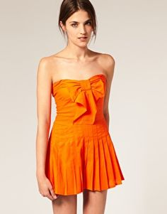 Dreaming of wearing this to Gator games with bright blue wedges! Asos Online Shopping, Online Shopping Clothes, Gator Game, I Dress, Strapless Dress, Short Playsuit, Blue Wedges, Pleated Shorts, Playsuits