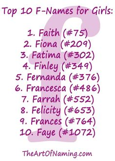 The Top 10 F-Names for Girls in F Names, Cute Names, Baby Names And Meanings, Names With Meaning, Baby Girl Names, Baby Girls, Old Fashioned Baby Names, Different Alphabets, Pretty Names