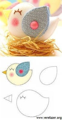 Felt Animal Patterns, Felt Crafts Patterns, Stuffed Animal Patterns, Fabric Crafts, Bird Crafts, Easter Crafts, Diy And Crafts, Crafts For Kids, Animal Crafts