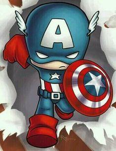 Marvel Drawings, Cartoon Drawings, Cartoon Art, Cute Drawings, Cartoon Characters, Chibi Marvel, Marvel Heroes, Marvel Avengers, Captain America