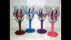Wine Glass Cricut Ideas - Pick Your Watch Monogram Wine Glasses, Personalized Wine Glasses, Hand Painted Wine Glasses, Personalized Gifts, Wine Glass Images, Funny Wine Glasses, Christmas Wine Glasses, Wine Glass Decals, Wine Glass Crafts
