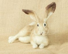 Annie the Cottontail Rabbit Needle felted animal by TheWoolenWagon