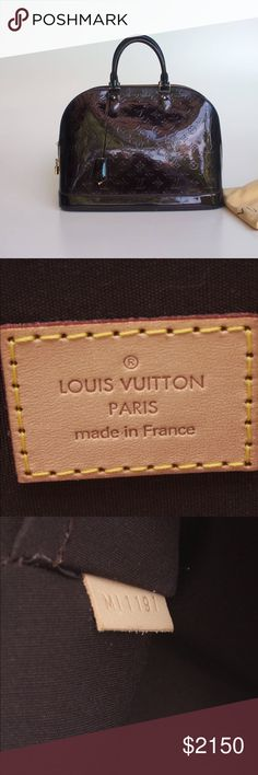 """Authentic Louis Vuitton Large Alma """"no trade"""" Amarante Vernis Satchel Louis Vuitton Bags"""