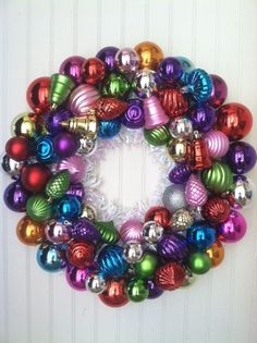 Christmas Ornament Wreath. $58.00, via Etsy.