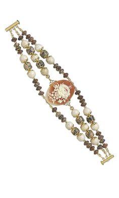 Triple-Strand Bracelet with Acrylic Cabochon, Leopardskin Jasper Gemstone Beads and Fossil Beads