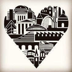 Manchester Heart print of original illustration. In black frame Manchester Landmarks, Manchester Art, Heart Frame, Canvas Signs, Landscape Prints, Ink Illustrations, Heart Print, Urban Art, Painting Prints