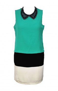 Tri-Colour Block Drop Waist Dress in Teal   from: Sartorial Splendour