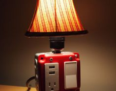 Industrial lamp USB Charging station vintage lamp by BossLamps