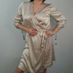 BNWT Stella McCartney H&M 2005 Size 12 Beige Nude Silk Dressing Gown Robe Satin #HM #Kimono