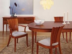 Aria Dining Extension Table at Thos. Moser, Transitional, extends to with leaves. ** Chairs are quite lovely too! Extension Table, Dining Room, Dining Table, Old Houses, Area Rugs, Furniture, Design, Chairs, Leaves