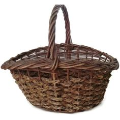 """Vintage American wicker and splint gathering basket, circa 1940's. Oversized at 18"""" x 14"""" x 14"""". Good vintage condition."""