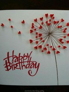 Unknown artist - quilled valentine and love cards (Searched by Châu Khang) Más Quilling Craft, Quilling Patterns, Quilling Designs, Handmade Birthday Cards, Happy Birthday Cards, Happy Birthday Love, Art Birthday, Happy Birthday Valentine, Unique Birthday Cards