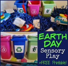 Find 2 unique EARTH DAY sensory bin ideas - perfect for teaching young children about taking care of the environment through recycling, composting and reducing waste. Includes a FREE printable garbage sorting sheet. {One Time Through} Sensory Bins, Sensory Activities, Sensory Play, Recycling Activities For Kids, Sensory Table, Sensory Therapy, Therapy Activities, Montessori, Importance Of Recycling