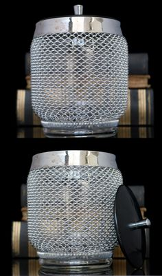 BUY on ETSY: Glass Ice Container with a Lid and Wire Mesh Decor / Mid Century Barware