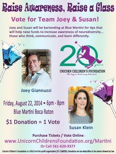 Vote for Joey Giannuzzi, Co-Owner of Farmer's Table Boca and Susan Klein, Owner/Chef of Fit Foodz Cafe as YOUR favorite bartender at Blue Martini Boca Town Center for Raise Awareness, Raise a Glass on August 22nd!!