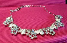Vintage Coro Pale Blue Rhinestone Grape Leaf Design Choker Necklace #Coro, $12.50
