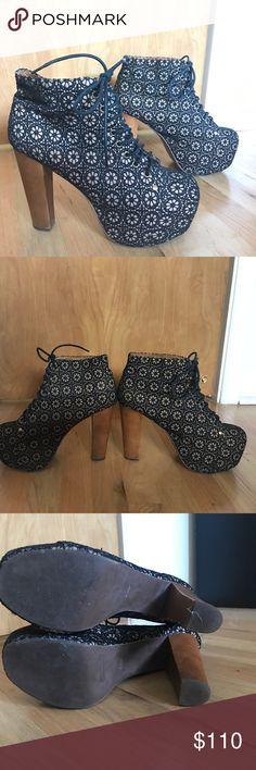 "Jeffery Campbell's Lita Heels Handmade ""Havana Last"" Lita heels with funky floral black lace design. Brown wood heel. Size 9.5 Jeffrey Campbell Shoes Heeled Boots"