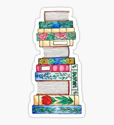 'Autumnal Floral Book Stack' Sticker by Emma Mildred Riggle Tumblr Stickers, Diy Stickers, Printable Stickers, Laptop Stickers, Journal Stickers, Planner Stickers, Stack Of Books, Aesthetic Stickers, Sticker Design