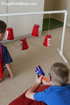 Break out the Nerf blasters and first up some family fun. These easy DIY Nerf targets can be thrown together in 30 minutes or less. Pvc Pipe Projects, Projects For Kids, Diy For Kids, Cool Kids, Crafts For Kids, Fun Things For Kids, Welding Projects, Outdoor Projects, Toddler Activities