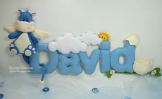 Love this baby's name banner of a hippo angel for a little boy in felt...NO pattern