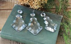 Antique Chandelier Crystal Drops Set of 3 by BakersFarmhouse