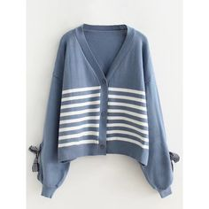 Blue Stripe Bow Sleeve Button Placket Cardigan (€33) ❤ liked on Polyvore featuring tops, cardigans, stripe cardigans, bow cardigan, short-sleeve cardigan, cardigan top and blue cardigan