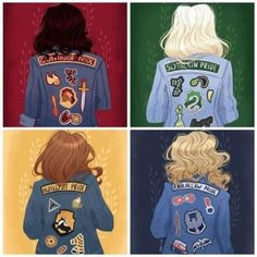 Gracie Gryffindor, Stacy Slytherin, Hannah Hufflepuff, and Rosie Ravenclaw - Hogwarts Harry Potter Tumblr, Harry Potter Anime, Magie Harry Potter, Estilo Harry Potter, Arte Do Harry Potter, Cute Harry Potter, Theme Harry Potter, Harry Potter Drawings, Harry Potter Outfits