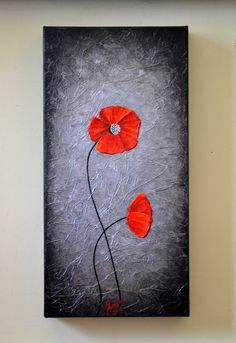 Original  Modern Art Abstract Red Poppies Artwork by ZarasShop