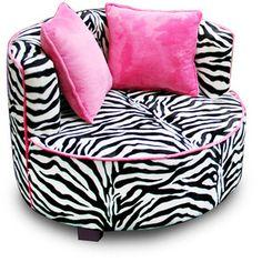 NEW & SEALED! Black Pink Zebra Chair Air Room Dorm Kids Teen Bean Bag