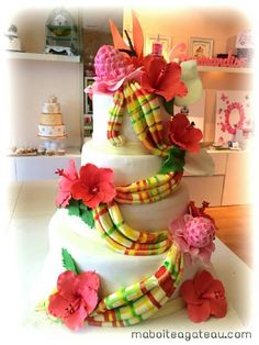 [ Cake Design Wedding Cake Antillais Wedding Cake ] - Best Free Home Design Idea & Inspiration Beautiful Wedding Cakes, Beautiful Cakes, Dream Wedding, Cake Wedding, African Wedding Cakes, African Cake, Engagement Brunch, Tropical Flower Arrangements, Birthday Traditions