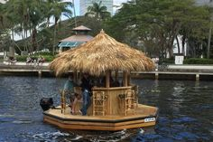 Want your own Tiki Bar boat? Well guess what, now you can buy these. Meet the Crusin Tiki. I know that when I first saw this video I wanted this Tiki Bar boat, and you probably Boat Dock, Pontoon Boat, Pt Boat, Haus Am See, Floating Dock, Lakefront Property, Bamboo House, Boat Lift, Tiki Party