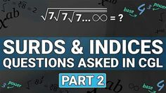 SURDS AND INDICES | SOLVE IN LESS THEN 10 SECONDS | PART 2 | #MATHS | #SBI PO MAINS 2017  https://youtu.be/FecMa4iw7Gc
