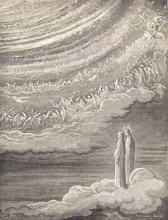 Paradiso, Canto XXVIII, Gustave Doré, Dante and Beatrice see God as a point of light surrounded by angels