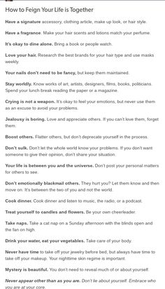 How to Feign that your life is together Pretty Words, Beautiful Words, Note To Self, Self Love, Get My Life Together, Self Care Activities, Self Improvement Tips, Self Care Routine, Life Advice