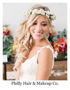 Wedding Hairstyles with Flowers ~ All down bridal hair with hair flower wreath by Philly Hair & Makeup Co