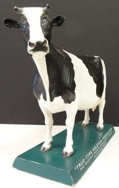 icollect247.com Online Vintage Antiques and Collectables - Holstein Cow Display Advertising-Agriculture
